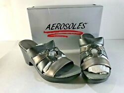 DESIGNER AEROSOLES WOMENS SHOES SILVER PUMPS OPEN TOE SIZE 8-12:  NIBOX $19.00