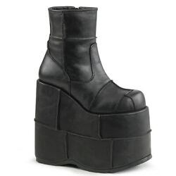Demonia Pleaser Stack-201 Boots Ankle Unisex Black Vegan Leather 7and039and039 Platform