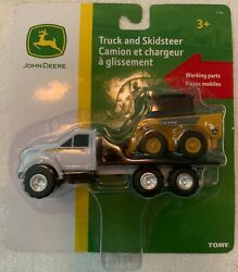 Official John Deere Toy By Tomy Working Parts Flat Truck And Skidsteer New In Box