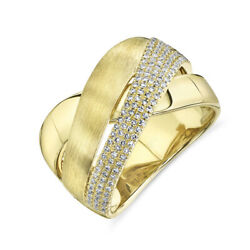 14k Yellow Gold Womens Diamond Multi Band Ring Crossover X Round Cut Natural