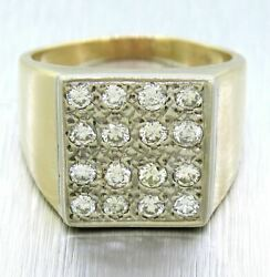 Vintage Estate 14k Solid Yellow Gold 1.60ctw Diamond Chunky Menand039s Ring