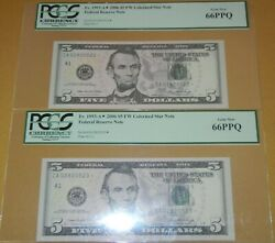 2 2006 Pcgs Consecutive Fancy Serial Number - 5 Star Notes - Gem New 66 Ppq