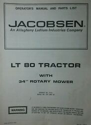 Jacobsen Lt 80 Lawn Tractor And 34 Mower Owner And Parts Manual Ford 1976 Riding