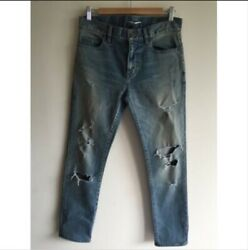 Yves Saint Laurent Paris Low Waisted Faded Ripped Skinny Jeans Size 29 Mens