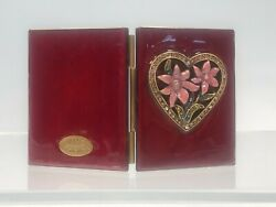Jay Strongwater Rhinestones Enamel And Red/heart Double Picture Frame