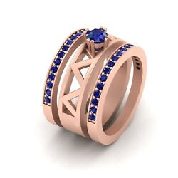 Solitaire Blue Sapphire Rose Gold Engagement Ring Wedding Band Set Zig Zag Ring