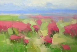 Blushing Field, Original Oil Painting, Handmade Artwork, One Of A Kind