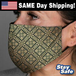 GOLDGREEN PATTERN Face Mask – INCLUDES 2 FILTERS! – 90 Washable Custom Designs $5.95