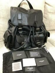 Rare SAINT LAURENT PARIS Hedi Slimane design backpack bag black leather $3,060.64