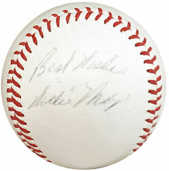Willie Mays Autographed Giles Nl Baseball Best Wishes Vintage Psa/dna Ah01110