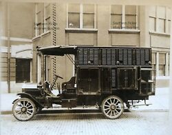 Large Vintage 1915 Photo Of A Detroit Police Dog Catcher's Wagon, Gmc Truck