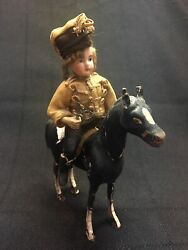 Incredibly Rare Antique Military Soldier German Bisque Doll On Wooden Horse Toy