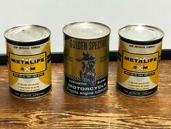 3 Metal Can Lot Vintage Golden Spectrum Motorcycle Oil Metalife 3xm Gas Collect