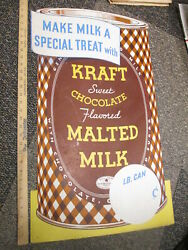KRAFT 1930s chocolate Malted Milk can die cut store display sign 29