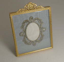 Antique Gilded French Bronze Photograph Frame With Paste Stone Decoration