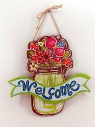 Welcome Summer Flowers In Mason Jar Hanging Wall Sign Brand New Free Shipping