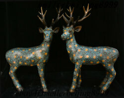 Collect Chinese Folk Fengshui Bronze Cloisonne Enamel Red Sika Deer Statue Pair