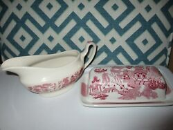 Lot Churchill Red Pink Rosa China Pottery Butter Dish And Gravy Boat Set