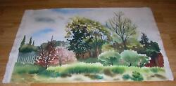 VINTAGE CANADIAN WATERCOLOR TREES SPRING GREEN IMPRESSIONISM LANDSCAPE PAINTING