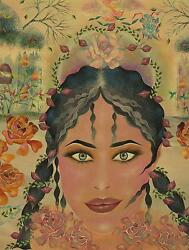 VINTAGE NATIVE AMERICAN INDIAN WOMAN PORTRAIT WINTER SNOW ROSES GARDEN PAINTING