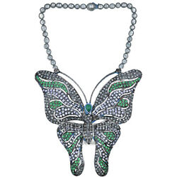 Estate 8.80ct Rose Antique Cut Diamond Emerald Silver Butterfly Necklace Jewelry