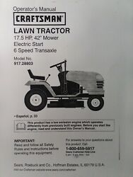 Sears Craftsman 17.5 Hp 42 Lawn Tractor Owner And Parts 2 Manual S 917.288030