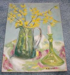 VINTAGE FOLK ART PRIMITIVE FORSYTHIA FLOWERS CANDLE STILL LIFE GLASS PAINTING