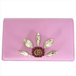 Pre-owned GUCCI 499782 GG Marmont Chain Wallet Pink Purple Leather Free Shipping