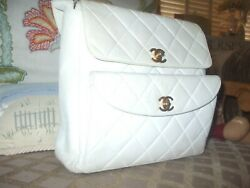 Chanel authentic vintage white leather quilted check design shoulder bag handbag $1,000.00