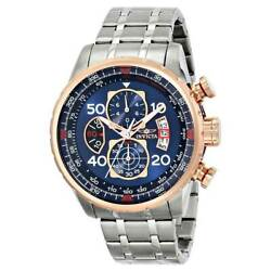 Menand039s Watch Aviator Chronograph Blue Dial Stainless Steel Bracelet 17203