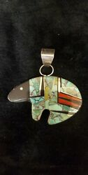 P91 Navajo Turquoise Coral Onyx handmade bear pendant sterling silver Lewis $179.95