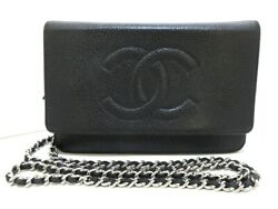 Auth CHANEL A48654 Black Caviar Skin Other Style Wallet