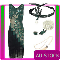Deluxe Ladies 20s 1920s Roaring Flapper Costume Sequin Gatsby 20and039s Fancy Dress