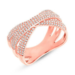 14k Rose Gold Diamond Crossover X Ring Pave Cocktail Bridge Right Hand Round Cut