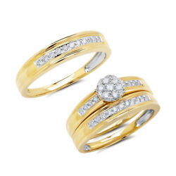 14k Yellow Gold His Hers Trio Diamond Trio Ring Set Round Cut Natural Engagement