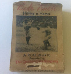 Babe Ruth 1934 Moviescope 'hitting A Homer' Dual Sided Flip Book By Quaker Oats