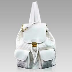 Valentino Orlandi Designer Large Backpack Alabaster Chanel Leather Bucket Bag $995.00