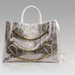 Valentino Orlandi Designer Large Tote Purse Silver Python Leather Bag wChains $995.00