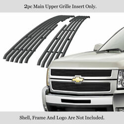 Fits 2007-2010 Chevy Silverado 3500/2500 Upper Stainless Black Tubular Grille