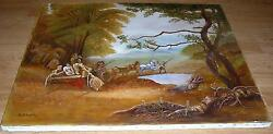 HORSES EQUESTRIAN HAY RIDE CART AUTUMN MAPLE SYRUP TREES FARMERS POND PAINTING