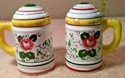 Vintage Py Usagco Japan Rooster And Roses Salt Pepper Shakers French Country