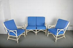 Set of 3 Outdoor French Vintage Whitewashed Rattan Two Seater Sofa and Two Armch