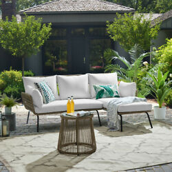 Outdoor Patio Sectional Rattan Furniture Set Seat Cushioned With Table Cream