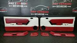 1989 Ford Mustang Gt Front Power Interior Door Trim Panels Maroon/white Trim Gn