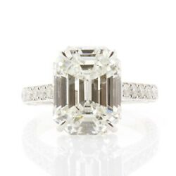 Natural Emerald Cut 7 Carat H Vvs2 with GIA Cert in 18k White Gold Ring Size 6