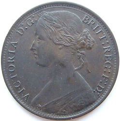 Great Britain Victoria 1 Penny 1866 In Uncirculated
