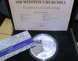 2015 Andpound10 Silver Proof 5oz Coin Winston Churchill Wartime Prime Minister Box/cert