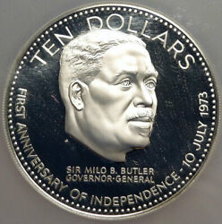 1974 Bahamas Large Independence Milo Butler Old Proof Silver 10 Ngc Coin I84650