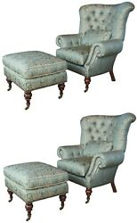 2 EJ Victor Beacon Hill Wingback Kensington Tufted Arm Wing Chairs
