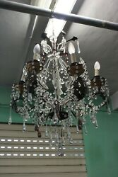 Lovely Antique Chandelier / With Crystals Hanging/6 Lights/period Beginning 900